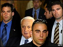 Bodyguards around Ariel Sharon