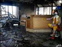 A burned-out McDonald's restaurant in Corbeil-Essonnes, south of Paris