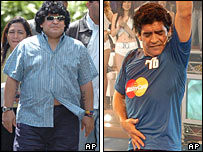 Diego Maradona pictured before and after his operation