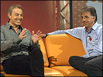 Tony Blair and Mark Lawrenson