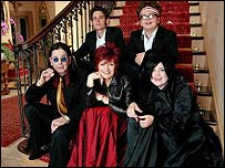 The Osbournes: Ozzy, adopted son Rob, Sharon, Jack and Kelly