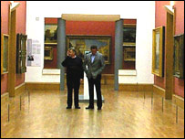 Mick Lawrence and Jurek Rokoszynski (Rocky) during filming in the Turner wing of the Tate Gallery