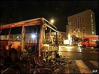 Wrecked bus in Paris suburb of Le Blanc-Mesnil