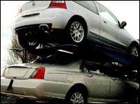 Rover cars leaving the Longbridge plant
