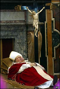 Body of Pope John Paul II on view in the Clementine Hall