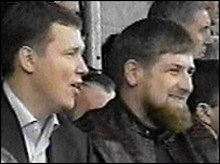Deputy Prime Minister Ramzan Kadyrov (right) and Prime Minister Sergey Abramov