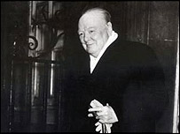 Winston Churchill on the steps of 10 Downing Street