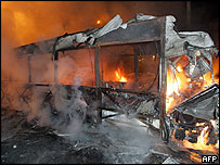 A bus burns in the Le Mirail district of Toulouse