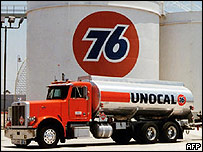 Unocal truck at oil storage facility