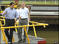US President George W Bush (right) with Panamanian President Martin Torrijos at Miraflores Lock at the Panama Canal