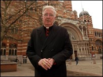 Cardinal Murphy O'Connor outside Westminster Cathedral