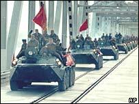 Soviet tanks departing Afghanistan