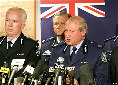 New South Wales Police Commissioner Ken Moroney (c) with NSW Asst Pol Comm Norm Hazzard (r) and Dep Pol Comm John Lawler (l)