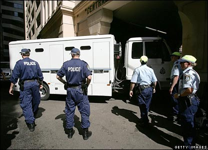 A van carrying terror suspects arrives at Sydney's Central Court
