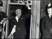 Ted Heath celebrates on the steps of Number 10