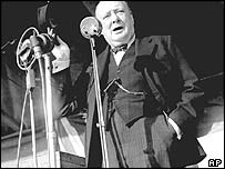 Winston Churchill Addressing A Crowd In London July 1945