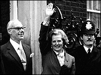 Margaret Thatcher entering Downing Street