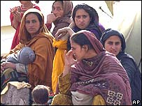 Survivors outside their tent in Muzaffarabad