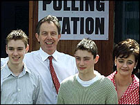 The Blair family at a polling station
