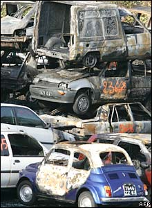 Burned-out cars in France