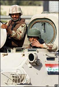 Iraqi troops in an armoured personnel carrier