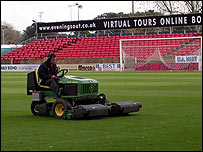 Mowing the grass at AFC Bournemouth