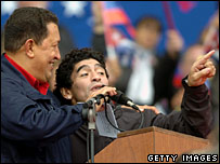Venezuelan President Hugo Chavez and Diego Maradona during the Summit of the Americas