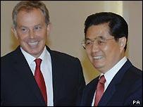 Tony Blair and Hu Jintao