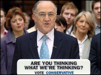 Michael Howard arrives to launch the campaign