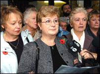 Jennifer Ellis and victims outside court