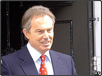 Tony Blair leaves Downing Street to ask the Queen to dissolve Parliament ahead of a General Election