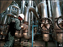 An Iranian petrochemical worker at a plant in Khuzestan Province