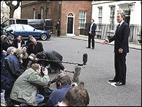 Tony Blair announces the election date to the waiting media at Downing Street