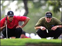 Tiger Woods and Phil Mickelson at the Ford Championship in March
