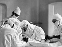 Doctors in a 1940s hospital