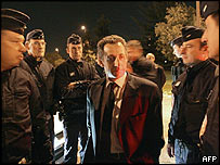 Interior Minister Nicolas Sarkozy with French police in Toulouse