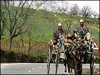 Kashmiri men on horse-drawn cart
