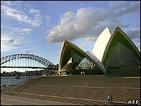 Sydney's iconic Opera House (R) and Harbour Bridge (C), are outlined by a brilliant sunset, 12 September 2005.