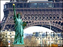 Replica of the Statue of Liberty at the base of Eiffel Tower, Paris
