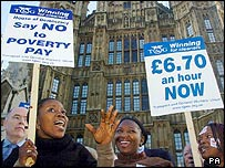 Cleaners picket outside the Houses of Parliament on Wednesday
