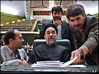 Iran's President Mohammed Khatami with MPs in parliament