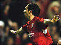 Luis Garcia celebrates scoring Liverpool's second