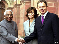 KR Narayanan (left) with Cheri and Tony Blair