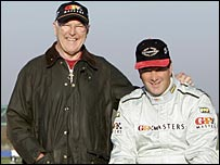 Murray Walker with 1992 F1 champion Nigel Mansell