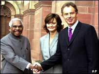 President Narayanan with Cherie and Tony Blair