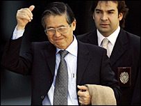 Alberto Fujimori after his arrest in Chile