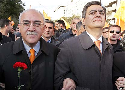 Opposition leaders Isa Gambar (left) and Ali Keremli
