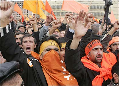 Opposition supporters in Baku