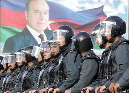 Riot police on duty in Gelebe Square, Baku
