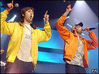 Two members of Newport rappers Goldie Lookin' Chain 